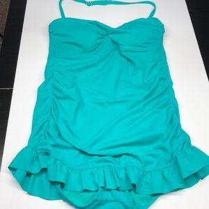 Jantzen green skirted one piece swimsuit size 8